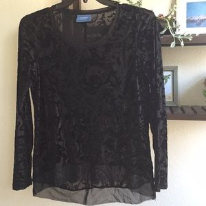 Simply Vera Black Faux Velvet Cutout Shirt